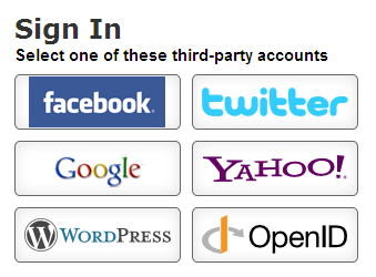 Use your existing account from Facbook, Google, Yahoo, Twitter, WordPress or OpenID to login